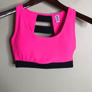 Reflex by 90 degrees hot pink w black sports bra